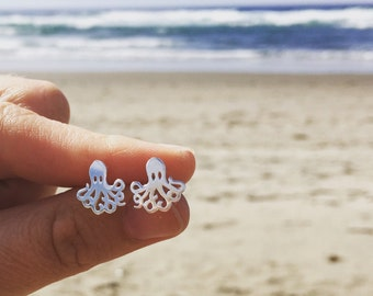 Octopus Earrings Sterling Silver Ocean Life Quirky Jewelry Adorable Unique Gift for Her