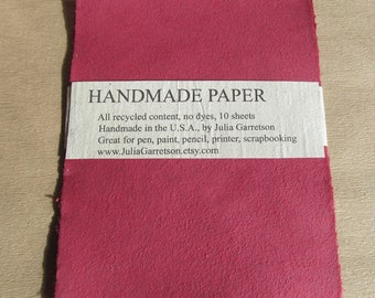 Handmade Paper from upcycled Red cotton T-shirts, no dyes or additives. Eco- Friendly, 8 1/2 x 11 inches-Recycled Handmade Paper