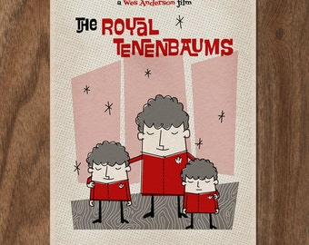 THE ROYAL TENENBAUMS 22x16 Mid Century Movie Poster Print