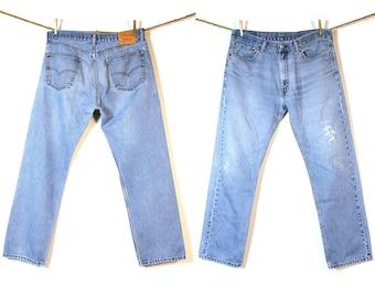 Levi's 505 Jeans / Vintage 1980s Levi's Distressed Denim / 37 x 31