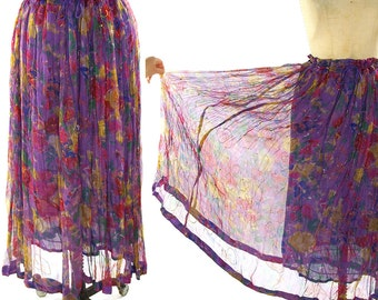 Sheer Bohemian Maxi Skirt / Vintage 1980s Indian Hippie Crinkle Skirt with Floral Print / Drawstring with Bells