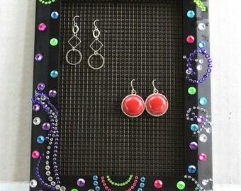 5x7 Jewelry Organizer, Black Frame Jewelry Organizer, Gift For Her, Teen Bedroom Decor, College Dorm Decor