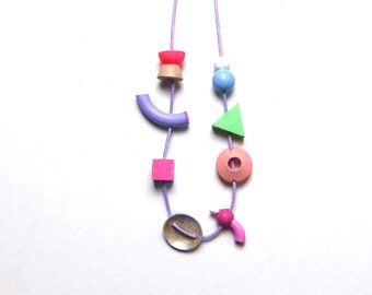 Colourful wood necklace, one of a kind, for her, hand made, necklace from wood, eco jewellery, organic necklace, shapes, playful necklace