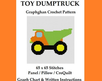Toy Dump truck - Graphghan Crochet Pattern - Pillow / Panel / CroQuilt