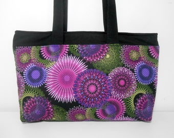 Purple Zipper Purse, Fabric Handbag with Zipper, Shoulder Purse