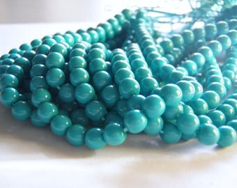 Turquoise Beads Round Druk Smooth Czech Glass 6 and 8 mm 20 Beads