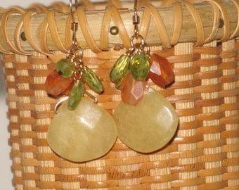 Carnelian, Calcite & Peridot Earrings