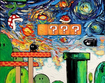 Video Game Art - Super Mario Bros - Starry Night Giclee Gamer print van Gogh Played With Fire by Aja 8x8 10x10 12x12 20x20 24x24 choose size