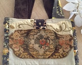 Gold and Topaz Antique Embroidered and Beaded Shoulder Boho Gypsy Bag Purse