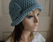 Ladies Roll Brim Hat Light Blue Wool with Flower