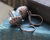 Frosted Acorn Earrings, Glass and Copper Earrings, Woodland, Boxing Day Sale