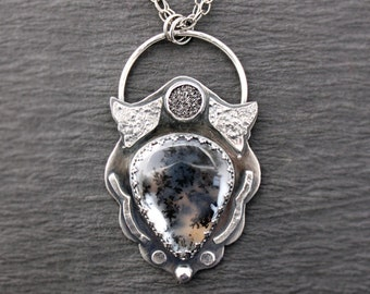 Fabulous Dendritic Quartz Sterling Silver Druzy Quartz Necklace Reticulaited Silver Jewelry