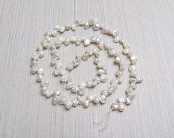 Cream Keshi pearl strand