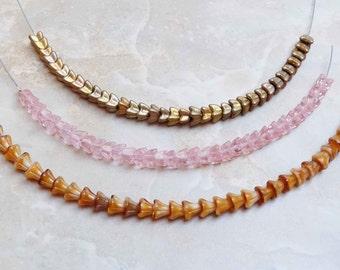 Czech Pressed Glass flower beads—set of three strands
