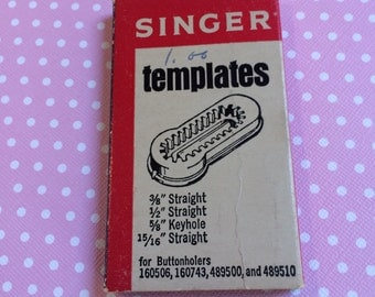 Set of four additional templates for Singer buttonholers, fits Jetsons and treasure chest style buttonholers.
