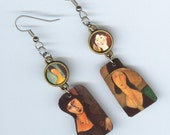 Fine Art Asymmetrical earrings Autumn colors - Modigliani Jeanne Hébuterne - Italian artist - art student gift - fine art jewelry