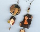 Fine Art Asymmetrical earrings Autumn colors - Modigliani Jeanne Hébuterne - Italian artist - art student gift - artist present
