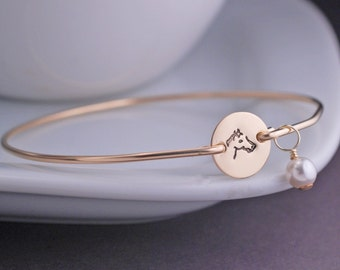 Horse Bangle Bracelet, Horse Jewelry, Gold Personalized Equestrian Jewelry, Horse Bracelet