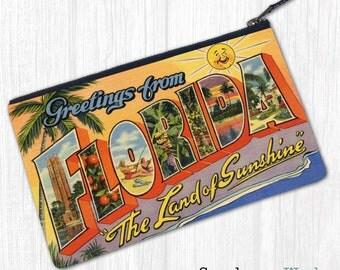 Greetings From Florida—Pouch, Wallet, Wristlet, Coin Purse, Zipper Bag, Clutch, Pencil Case, Makeup Bag