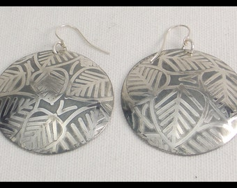 SILVER  LEAVES - Handforged Embossed Domed and Gilded Pewter Statement Earrings