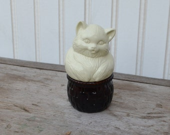 Kitten Avon Bottle - Amber and Cream - Royal Hill Vintage