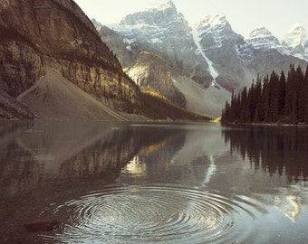 "Mountain Photography, Moraine Lake, Rocky Mountain Nature Art Print, Landscape Photography, Large Wall Art Print ""Ripples"""
