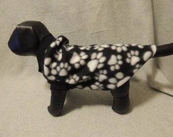 Small Fleece Dog T - Shirt  Black with White Paws