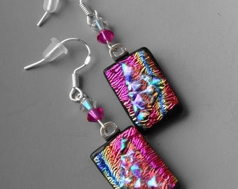 Hot Pink Dichroic Earrings, Pink and Blue Earrings, Fused Glass Dangle Earrings, Beaded Dichroic Glass Earrings,  Fused Glass French Hooks