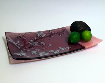 Cherry Blossom Fused Glass Serving Platter, Cherry Blossom, Japanese, Nature