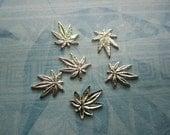 Cannabis Marijuana Leaf Tiny Silver Tone Plated Brass Charms NO Ring on Etsy x 6