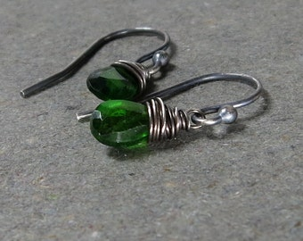 Chrome Diopside Earrings Petite Earrings Green Gemstone Earrings Sterling Silver Oxidized Earrings