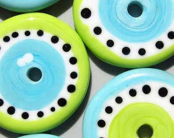 Blueberry/Lime Wheelies--Handmade Lampwork Glass Bead Disc