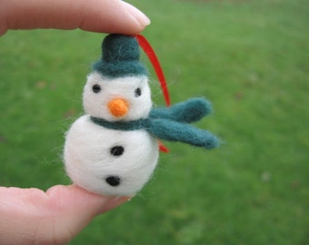 Needle Felted Snowman Ornament Red Scarf