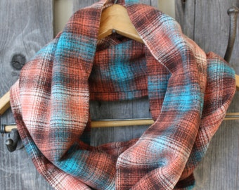 Rust, Teal & Brown Plaid Flannel Infinity Scarf