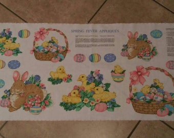 Vintage 1970's Easter Spring fabric applique panel! New!