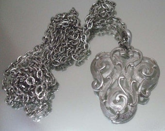 Crown Trifari Double Chain & Scroll Pendant Necklace Signed Vintage