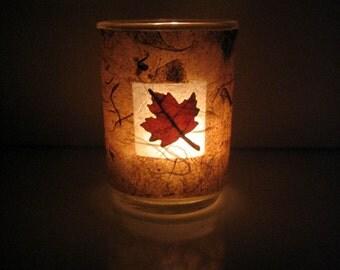Real Autumn Maple Leaf Earth Light - botanical candle, candle holder, pressed leaf, leaf, autumn, Canada, natural, woodland, glass, ooak