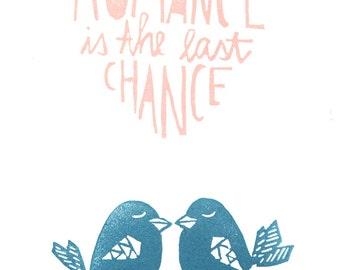 ROMANCE is the last chance - archival fine art print - A4 // Fine Art Print 21x29,7cm // Lovebirds - Stamp Art -Illustration - Poster