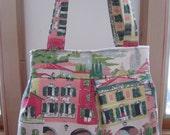 Linen Pleated Handbag Purse Ipad Netbook Tote Venetian Toile