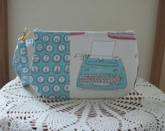 Retro Typewriter Clutch Wristlet Zipper Gadget Pouch Smart Phone Purse Bag