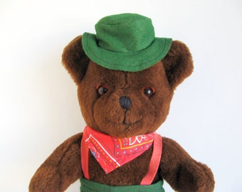 Vintage LL Bean Teddy Bear Hat Green Pants Red Suspenders Red Bandana Cuddle Toys styled by Douglas 1980s Toy