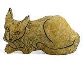 decorative pillow, cat pillow, animal pillow, big relaxed cat shaped tan batik fabric