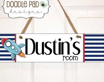 Rocket Door Sign, Personalized Door Sign, Boy Name Sign