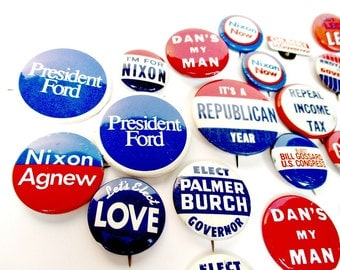 Political Memorabilia Buttons, GOP President Ford, Nixon Agnew Lot of 20