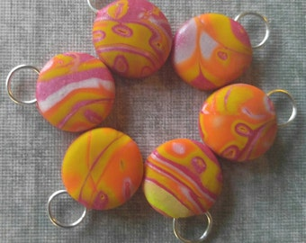 Sunset Explosion Round Snag free Stitch Markers Small