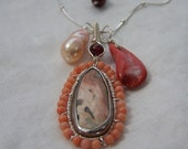 Ocean Jasper, sterling silver coil wrap, Pink fresh water pearl, pink coral, sterling silver ball necklace