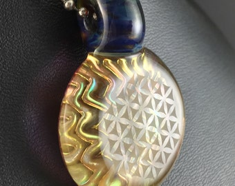 Boro Glass Pendant Bead Fume Gold 3D Impression Flower of Life Geometric  --Dan Rushin (4)
