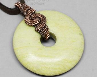 Copper and Peridot Jasper Donut Pendant Necklace