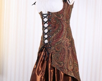 Last One All Sizes Black Gold & Wine Paisley Tailed Vixen