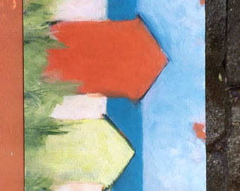 Original painting, coastal landscape, home decor, beach house decor, original art, modern living, fine art, FREE US shipping